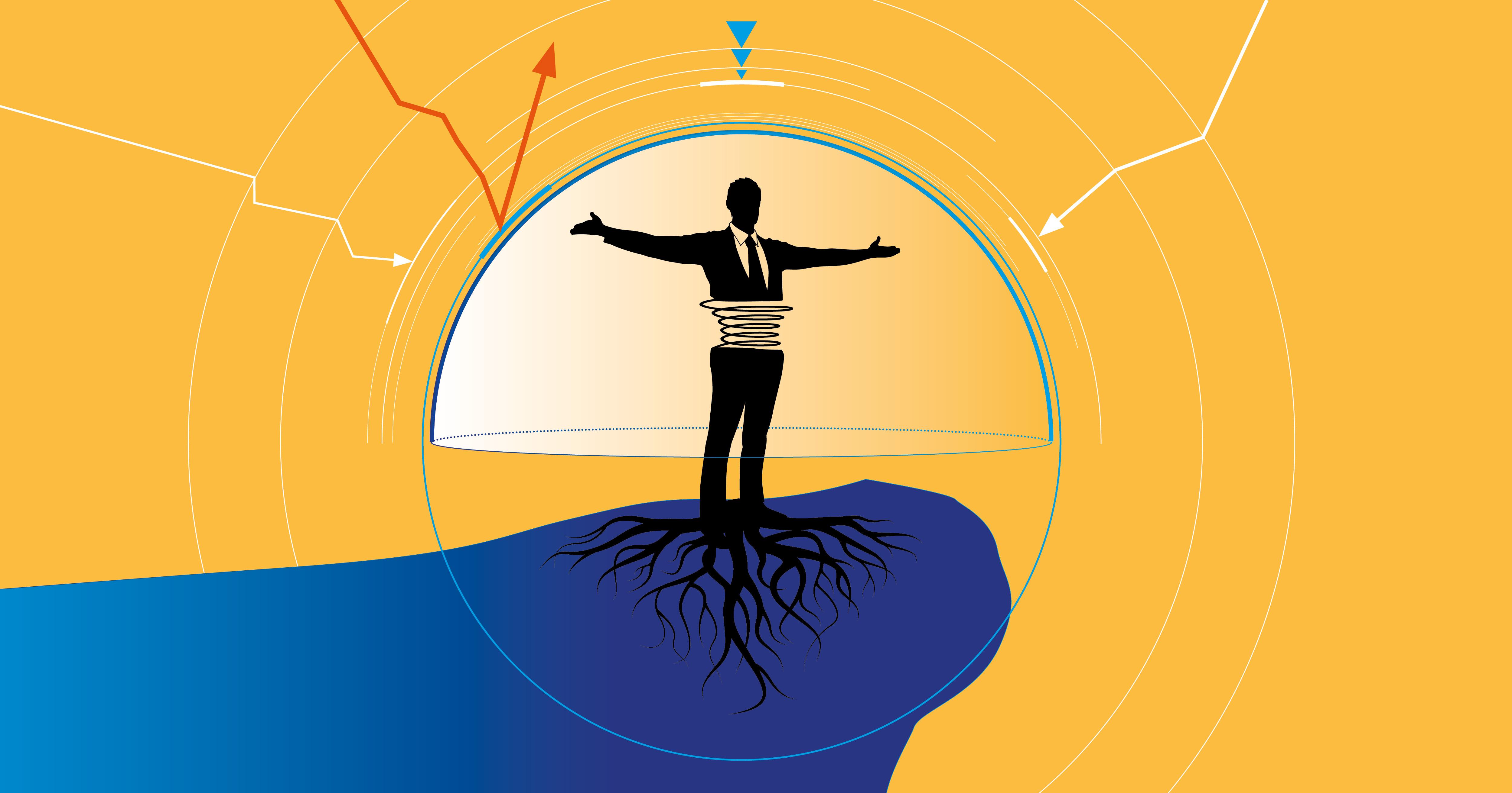 Illustration zeigt Mann verwurzelt auf einem Felsvorsprung mit mehreren Umlaufbahnen um sich